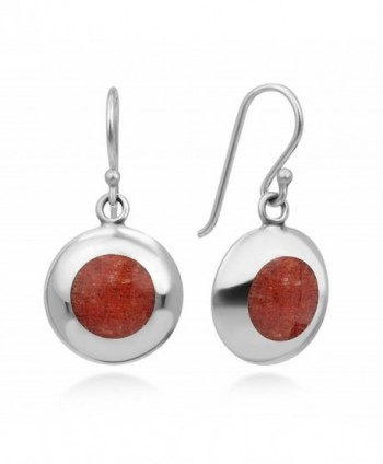 "925 Sterling Silver Natural Red Sea Bamboo Coral Circle Inlay Round Dangle Hook Earrings 1"" - CR12DL2BZVD"