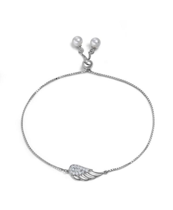 """Womens Angel Wings Pearl Bracelets Link Chain Sterling Silver 7"""" - CC12N0FW2DY"""