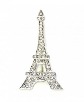 Faship Gorgeous Clear Crystal Paris Eiffel Tower Pin Brooch - C911S51HRQX