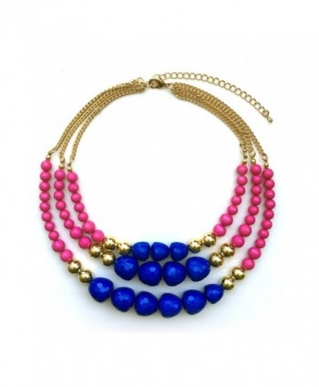TrinketSea Multi Strand Beaded Statement Necklaces for Women Colorful Beautiful Bead Bib Blue Pink Golden - CG187EXLIDK