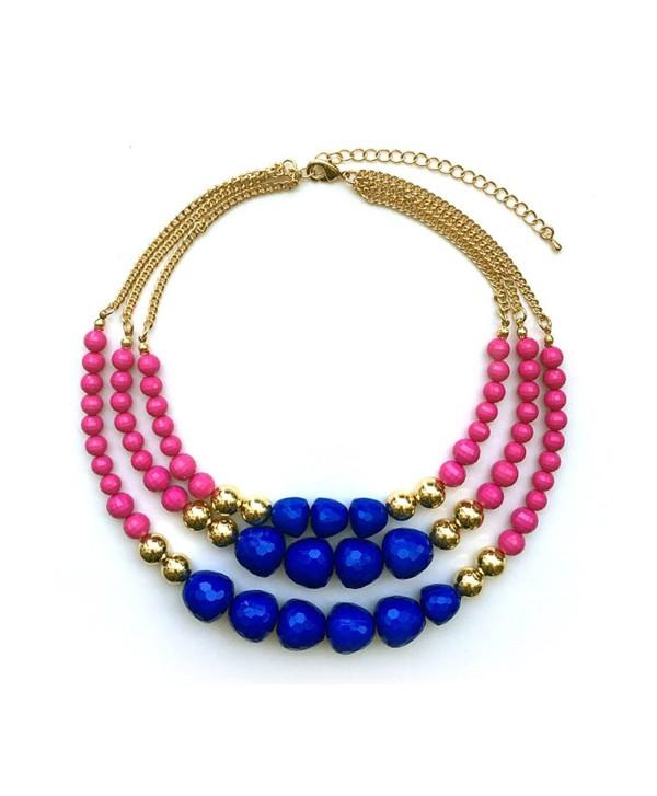 TrinketSea Multi Strand Beaded Statement Necklaces for Women Colorful Beautiful Bead Bib Blue Pink Golden - CG187EXLIDK