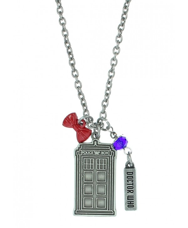 Stainless Steel Doctor Who Multi Charm Pendant Necklace - C31297WJWL1