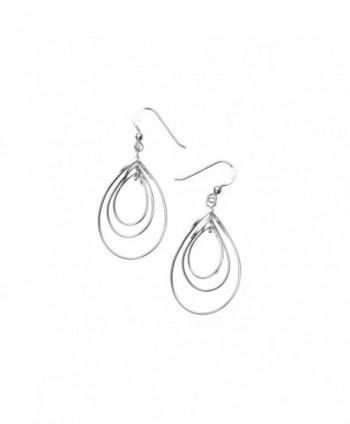 """925 Sterling Silver Flat Wire Tear Drop Loop Dangle Earrings 1.2"""" - Nickel Free - C711M2CL0EB"""
