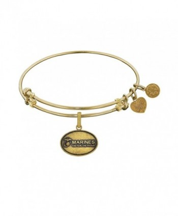 Angelica Collection Brass with Yellow Finish U.S. Marine Corps Expandable Bangle - C411Q7USU1P