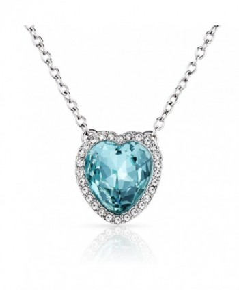 Beyond Love Blue Heart Aquamarine Crystal Pendant Necklace Birthstone Jewelry Valentines Gift for Women and Girl - CC1884H5KK5