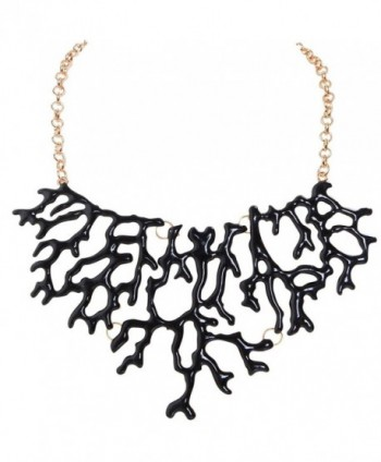 Humble Chic Mermaid Necklace - Coral-Shape Branch Chain Statement Choker Collar Bib - Black - CF1874T679Q