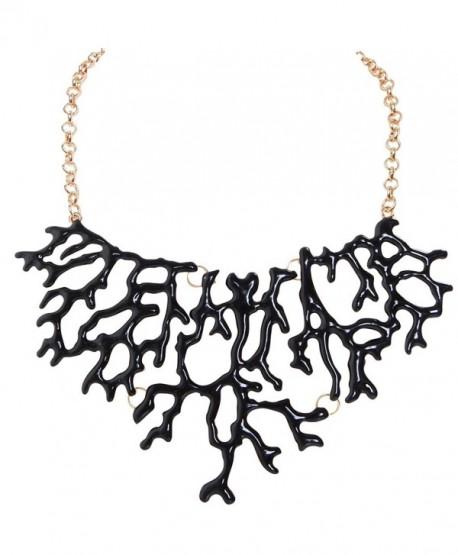 Humble Chic Mermaid Necklace - Coral-Shape Branch Chain Statement Choker Collar Bib - Black - CF1874T679Q