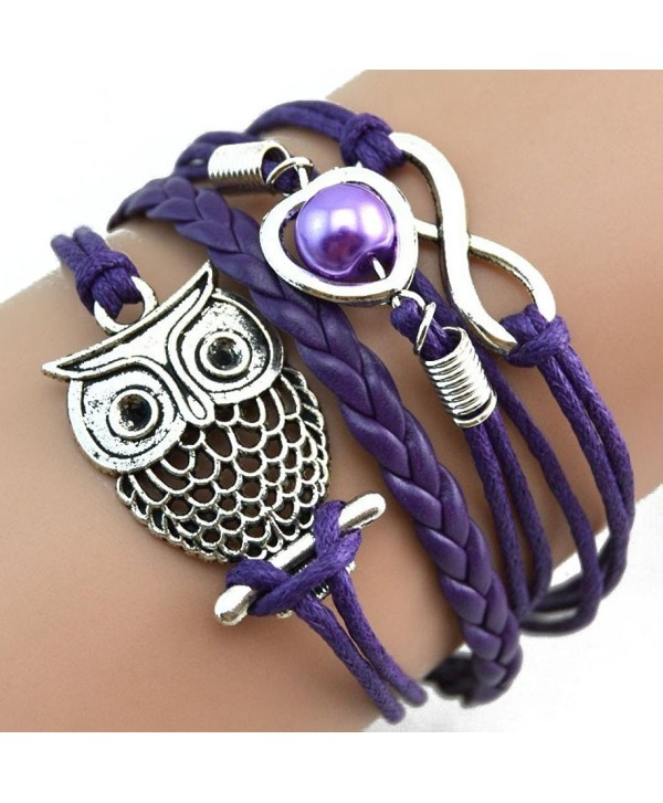 Malloom DIY Style Infinity Owl Pearl Friendship Multilayer Charm Leather Bracelets - CG12BITM4OD