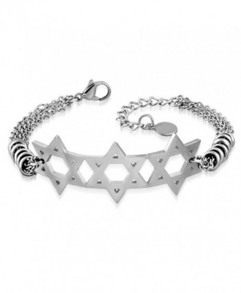 "Stainless Steel Jewish Star of David Chain Bracelet- 9"" - White - CO12KAYJ269"