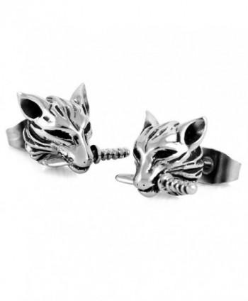 Wolf Earring Studs for Women Girl Vintage Stainless Steel Jewelry - CM12N7860M4