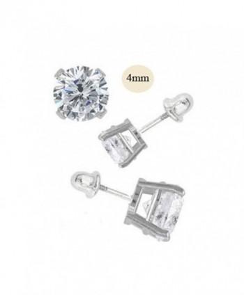 Nourei 14K White Gold 4mm Round Simulated Diamond Stud Earring Set- Prong Setting- Screw Back - C211ZZF5UDJ