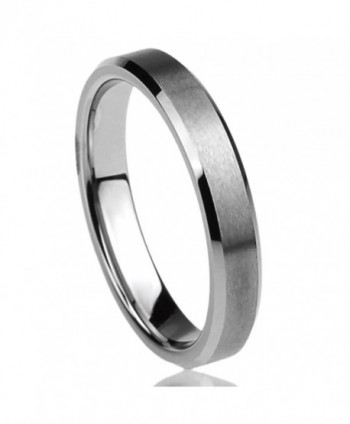 4MM Titanium Womens Rings Beveled Edges Brushed Comfort Fit Classy Wedding Bands - CV11BJ6HHHZ