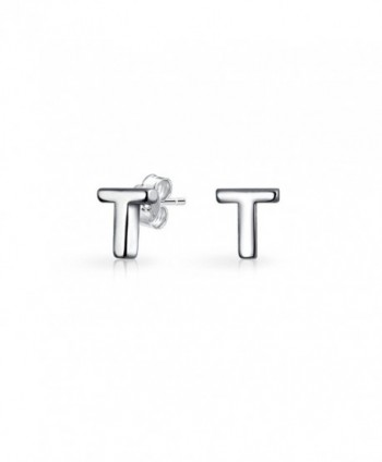 Bling Jewelry Modern Alphabet Letter T Initial Stud earrings 925 Sterling Silver 55mm - CD12562O3BP
