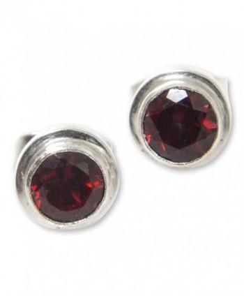 NOVICA Round Garnet and .925 Sterling Silver Stud Earrings- 'Red Simplicity' (.6 cttw) - C8127XTFJCL