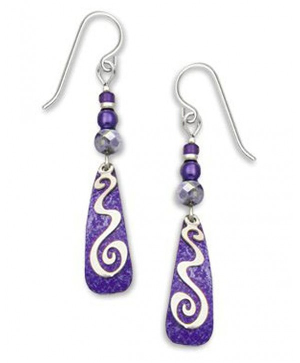 Adajio By Sienna Sky Purple Silver-tone Squiggle Overlay Earrings 7229 - CD11BM73BIZ