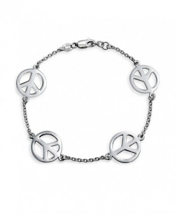 Bling Jewelry 925 Sterling Silver Peace Sign Bracelet 7.5in - CR113AIW45T