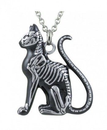 "Cat Necklace - Feral Bones - Silver-Toned Stainless Steel Necklace 28"" By Controse - CE12GK5DC3R"