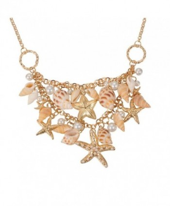 Fashewelry Sea Shell Bib Beach Necklaces Starfish Pearl Statement Chunky Necklace Pendant - C712NAYTIJD
