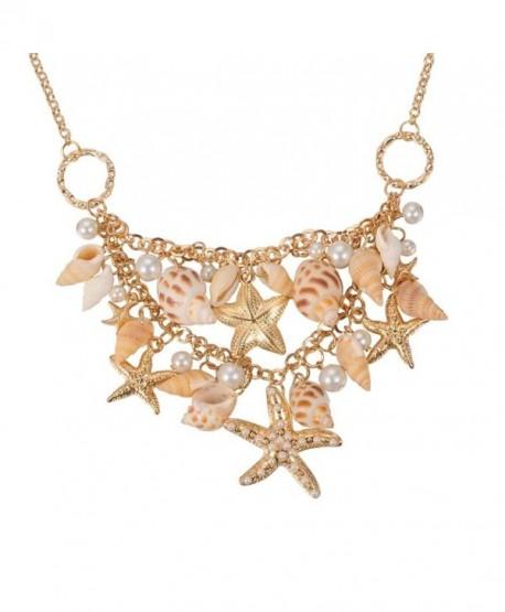 Fashewelry Sea Shell Bib Beach Necklaces Starfish Pearl Statement Chunky Necklace Pendant - C712NAYTIJD