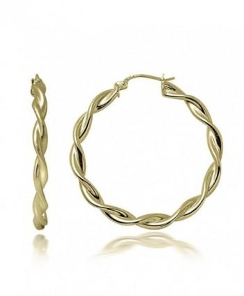 Hoops & Loops Sterling Silver 3mm Twist Polished Medium Hoop Earrings - CD12H3NAMFF