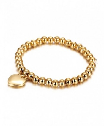 Wistic Women's Stainless Steel Gold Plated Expandable Love Beaded Charm Bracelet - CW12FO68GN9