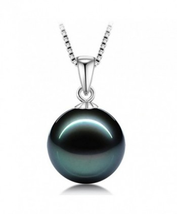 L'vow 12mm White or Black Pearl Pendant Necklace Set Sterling Silver Chain - CC12878M3X5