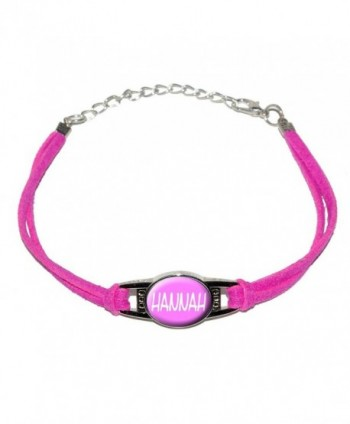 Graphics and More Hannah - Name - Novelty Suede Leather Metal Bracelet - Pink - CV12K3N818X