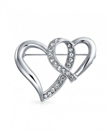 Bling Jewelry Open Ribbon Hearts Crystal Valentines Brooch Silver Plated - CQ11BS2HS8X