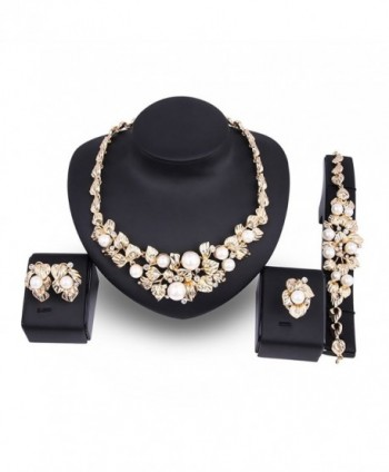 KAVANI Luxury African 4 Pieces Jewelry Sets Necklace Ring Earrings Bracelet Sets - Flower Gold - CW182GU28IM