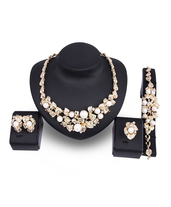 KAVANI Luxury African 4 Pieces Jewelry Sets Necklace Ring Earrings Bracelet Sets - Flower Gold - CW182GU28IM