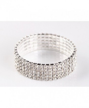 NYBK 7'' Bridal Rhinestone Stretch Bracelet Silver Tone - Ideal for Wedding- Prom- Party or Pageant - CY11K4AQOVV