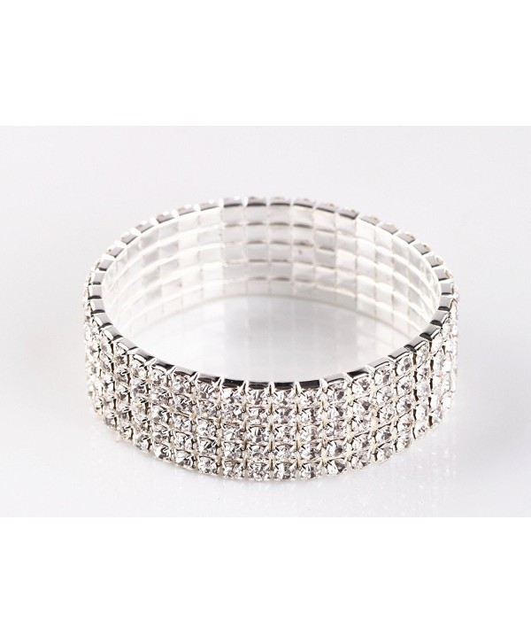 NYBK 7'' Bridal Rhinestone Stretch Bracelet Silver Tone - Ideal for Wedding- Prom- Party or Pageant - CY11K4AQOVV