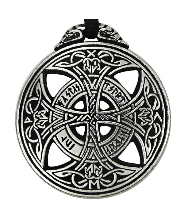 Pewter Large Celtic Knot Love Pendant Viking Norse Rune Necklace - 1 3/8 Inch Diameter - CJ118HIR6BF