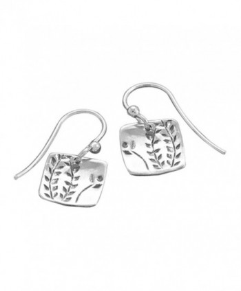Fern Vine Design Sterling Silver Small Square Tag Dangle Earrings - CI115360VCZ