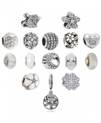 Assorted Rhinestone European Birthstone Flower White - 16-White - CG12F38QPAX