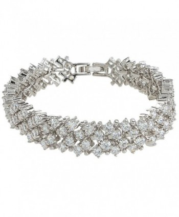 EVER FAITH Women's Round Full Cubic Zirconia Bridal Tennis Bracelet Clear - Silver-Tone - C611I197GWT