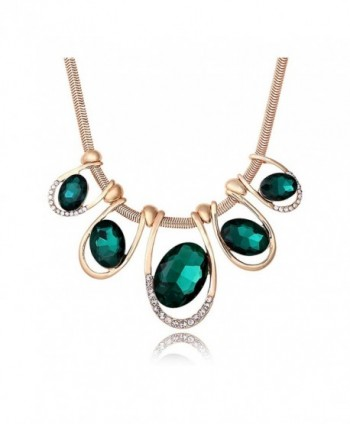 Signore-Signori Emerald Austrian Crystal Statement Chunky Bohemia Chain Statement Jewelry Gold Necklace - CY11HQPCNX1
