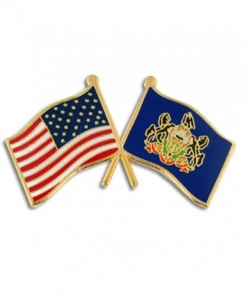 PinMart's Pennsylvania and USA Crossed Friendship Flag Enamel Lapel Pin - CJ119PEM9K3