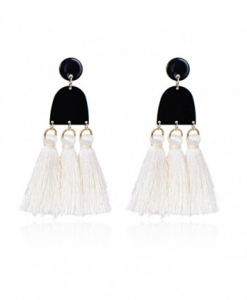Pipitree Long Tassel Earrings For Women Geometric U shape Bohemia Drop Dangle Earrings - White - CV187AN23MT