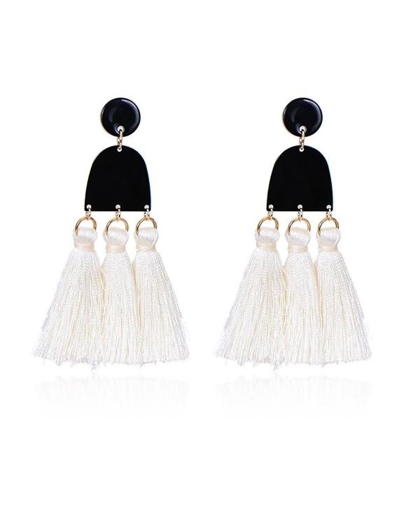 Pipitree Long Tassel Earrings For Women Geometric U shape Bohemia Drop Dangle Earrings - White - CV187AN23MT