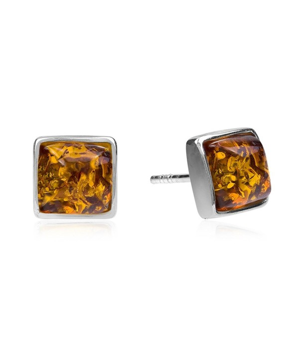 Amber Sterling Silver Perfect Square Stud Earrings - CB1850338DY