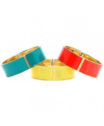 Lova Jewelry Bright Red- Steel Blue Turquoise- Yellow Sleek Hinge Metal Bangle Bracelet (Set of 3) - C412O3RLKYE