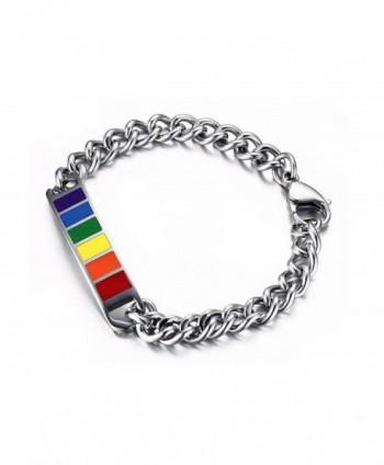 "Vnox Jewelry Stainless Steel Rainbow Rubber Gay & Lesbian LGBT Pride Bracelet--Width 10mm-8"" - CE11XGXUUJB"