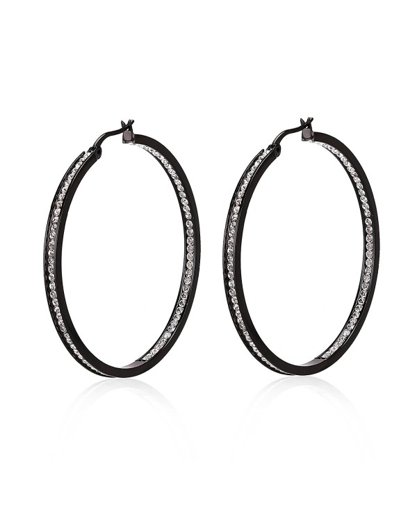 Stacey Black Stainless Steel Hoop Earring Set with Rhinestone Half Outside and Half Inside - CW12G6FJHAR