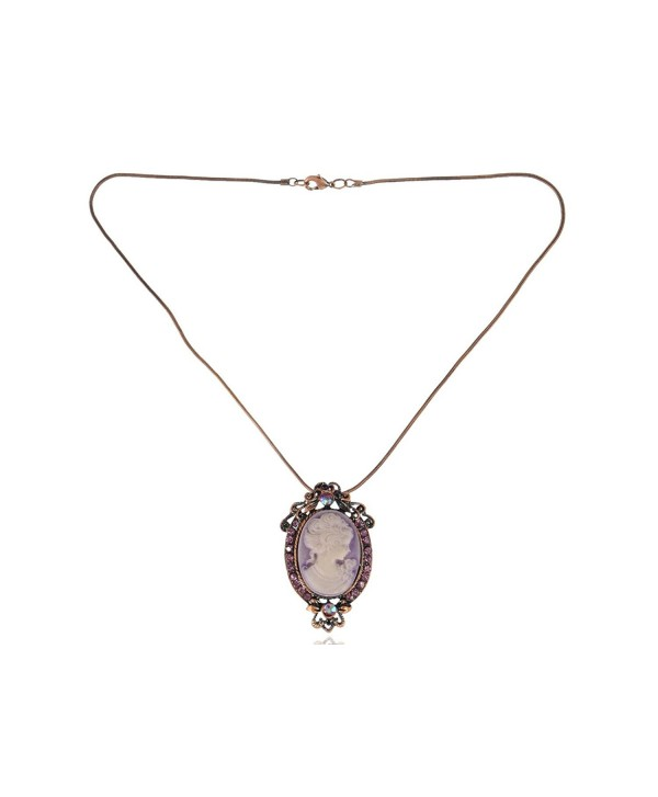 Alilang Copper Tone Purple Rhinestones Vintage Inspired Cameo Lady Pendant Chain Necklace - C2117BMQ4HF