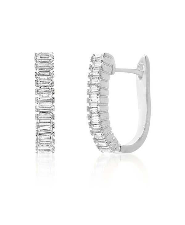 Lesa Michele Baguette Cubic Zirconia Hoop Earrings In Sterling Silver C1187zadh3e