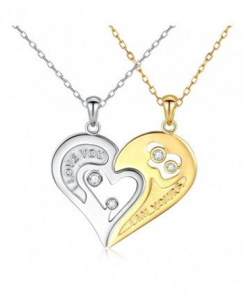 DAOCHONG S925 Sterling Silver Couple Necklace Heart CZ for Women and Men - CR189YS5YY2