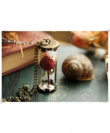 Real rose necklace - red rose bud - I love you - romantic jewellery- symbolic - CU12MYO67FW