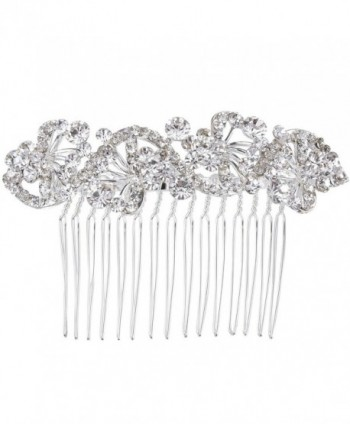 BriLove Women's Bohemian Crystal Charming Wave Shape Flower Wedding Bride Side Hair Comb Silver-Tone Clear - CV123B38ACX