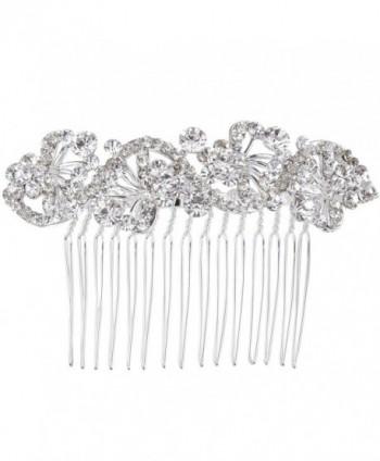 BriLove Women's Bohemian Crystal Charming Wave Shape Flower Wedding Bride Side Hair Comb Silver-Tone Clear - CV123B38ACX